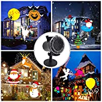Longay Animation LED Projection Lamp Snowflake Projection Lamp Christmas Projection Lamp Snow Light Stage Light