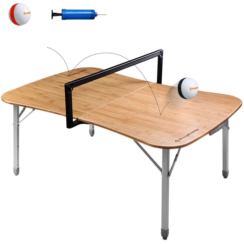 KingCamp Paeyball Mehrzweck Ballspiel-Tisch Campingtisch Klappbar Bambustischplatte Aluminiumrahmen