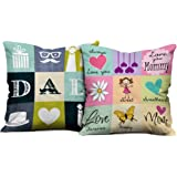 Indibni Dad Mom Cushion Combo Set Of 2 With Filler (12X12, Multicolor, Satin)