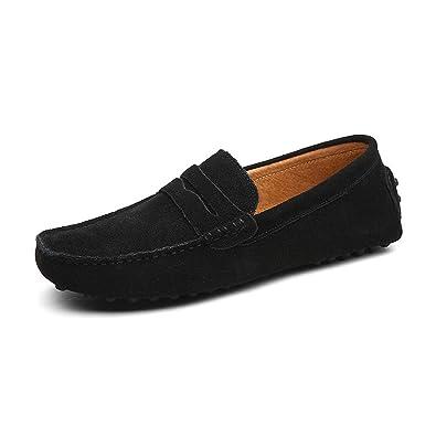 d92059e2c84a5 Soft Moccasins Men Loafers Genuine Leather Shoes Men Flats Driving Shoes,01  Black,6.5