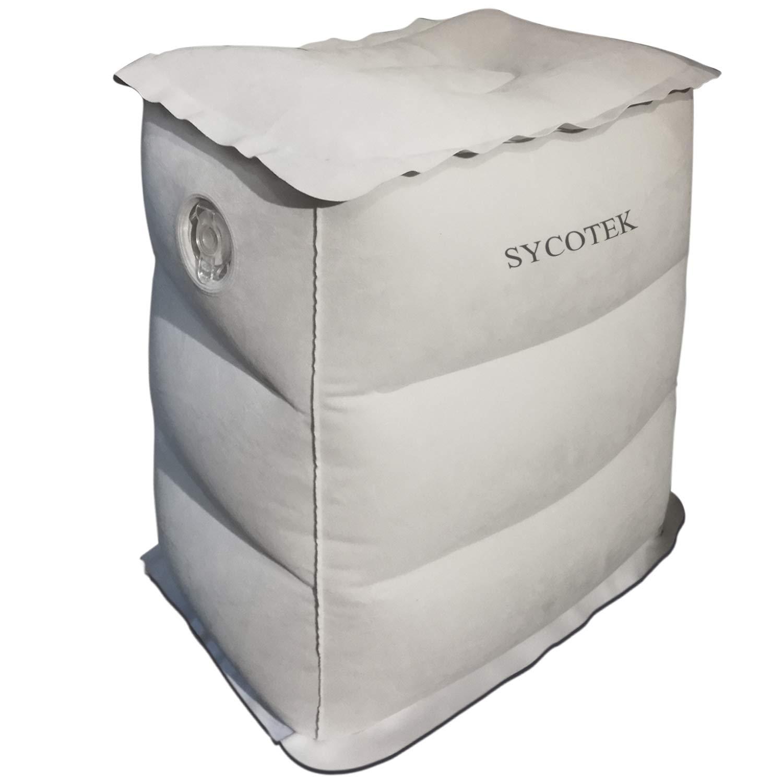 SYCOTEK Reposapiés Inflable Portable 1 Altura, Almohada para Niños o Reposapiés de Viaje Inflable para el Asiento del Coche para la Relajación y Protección ...