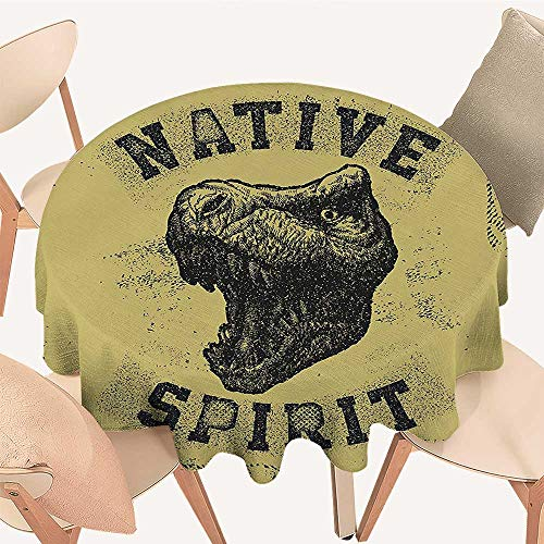Round Table Tablecloth Drawn Roaring Tyrannosaurus Portrait Native Spirit Jurassic Wild Animal Army Green Black Machine Washable, 51 INCH Round