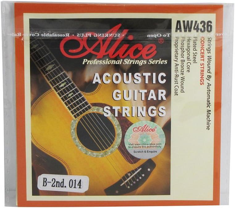 Alice b-2nd cuerdas de acero Folk Guitarra Cuerdas con oro bola, extra light .014