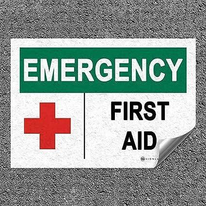 10x7 First Aid Emergency Heavy-Duty Industrial Self-Adhesive Aluminum Wall Decal CGSignLab