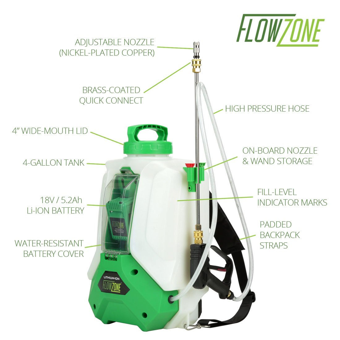 Typhoon 4-Gallon Multi-Use Continuous-Pressure 18V/5.2Ah Lithium-Ion Backpack Sprayer by FlowZone (Image #3)