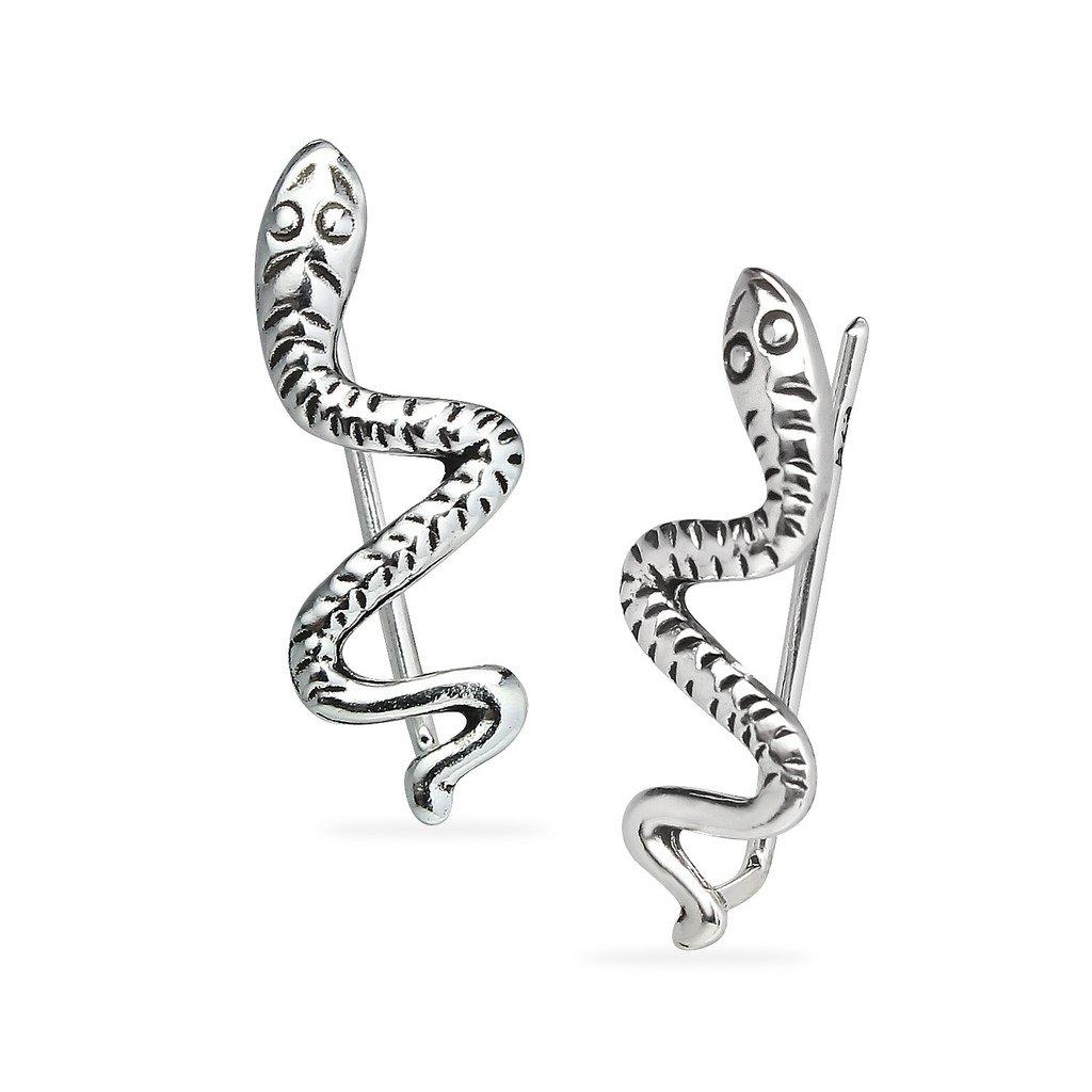 Sterling Silver Wavy Snake Crawler Climber Ear Cuff Earrings One Pair Set Women