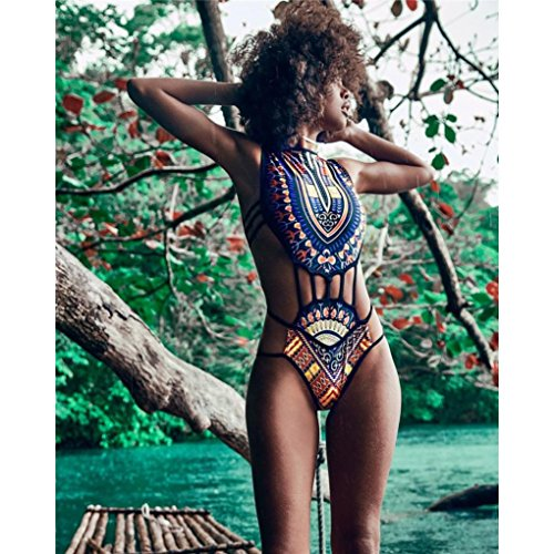 Étnica De Africano Bikiní returom Del Traje Playa Mujer Señora Negro Ropa Baño La Estilo Impresión Vestido 1UnR7fwq