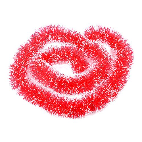 Anasu 5Pcs 2M Christmas Tinsel Garland, Classic Shiny Party Xmas Tree Ornaments Hanging Decorations Party Wedding Holiday Festival Ornaments 5 Colors (5 Pack Red)