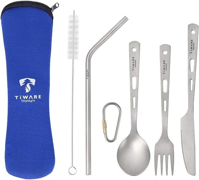 Long Handle Spoon Titanium Tableware Outdoor Picnic Accessories Cutlery Fork
