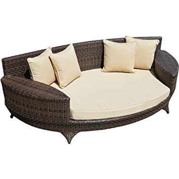 Love Sofa / Day Bed Brown All Weather Synthetic Outdoor Rattan Garden  Furniture Lounger