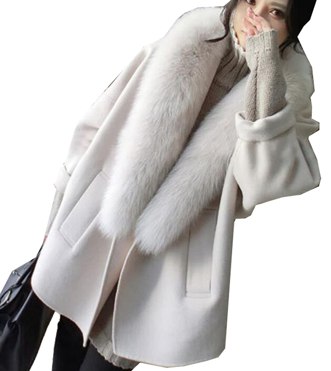 6296aed1d8 hot sale OULIU Women s Elegent Cashmere Coat Fur Collar Loose Fit Pea Coat