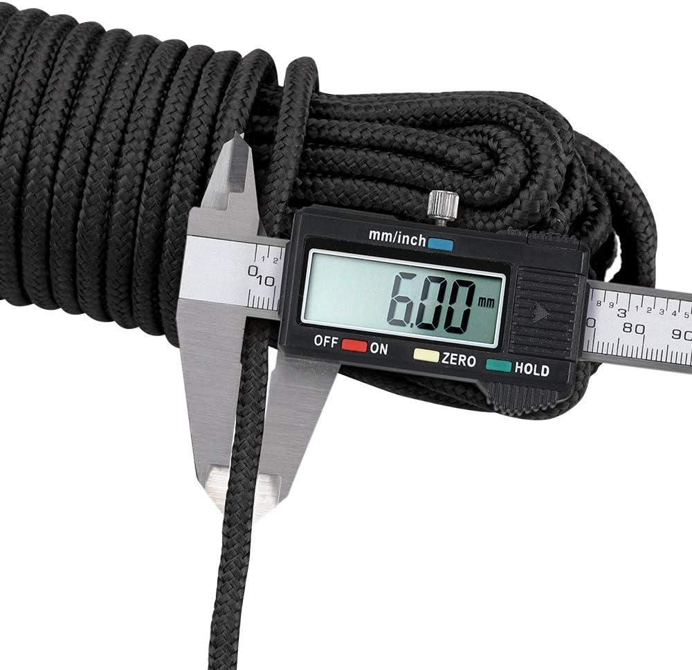 Cuerda trenzada de nailon negro de 30 m multifuncional para tendedero escalada de nailon grueso 6 mm supervivencia colgar