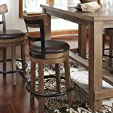 Pinnacal Light Brown Counter Height Solid Wood Swivel Stool