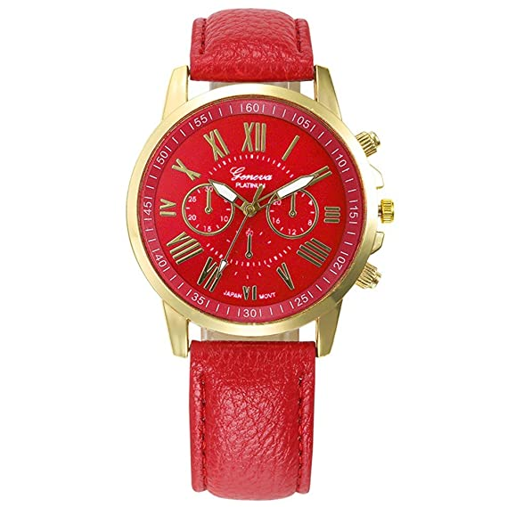 Womens Watch,Elegant Geneva Roman Numerals Wristwatch Analog Quartz Clock Axchongery (Red ...
