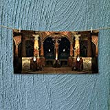 Nalahome Sports Towel Decor Dark Mystic Ancient Hall with Pillars and Christian Cross Dome Shrine Church Fast Drying, Antibacterial L27.5 x W13.8 inch