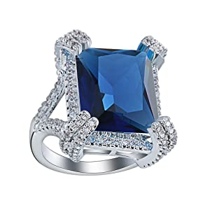 Womens Jewelry Full Crystal Blue CZ Cubic Zircon Party Engagement Finger Ring US 7.8.9