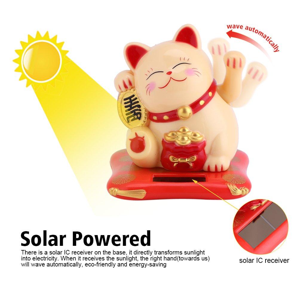 Bonne Chance con brazo m/óvil a la energ/ía solar decoraci/ón para coche casa oficina #1 Gato de la suerte