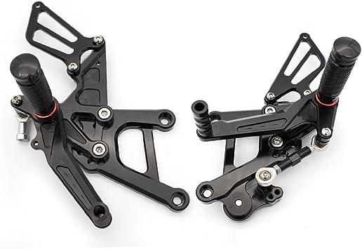Krace Motorcycle Rearsets Footpeg Foot Pegs Footrest Brake Shift Pedals Adjustable Fit For Ducati 848//848 EV0 2008-2013 Black