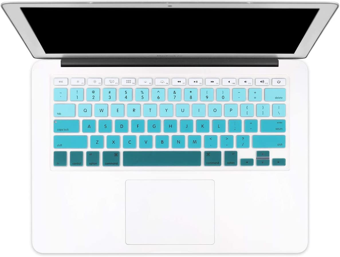 """Batianda New Ombre Color Keyboard Cover Protector Silicone Skin for Old MacBook Air 13"""" MacBook Pro 13"""" 15"""" 17"""" (with or w/Out Retina Display) - White to Green"""
