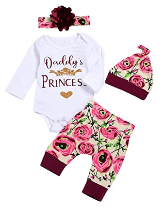 c656a8bf Amazon.com: AlwaysFun 4 Pcs Baby Girls Daddy's Princess Crown Romper Floral  Leggings Pants Headband Hat Outfits Set: Clothing