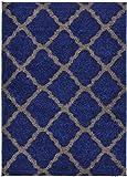SOHO Shaggy Collection Trellis Lattice Design Shag Area Rug Rugs 3 Color Options (Navy Blue, 8 x 10) Review