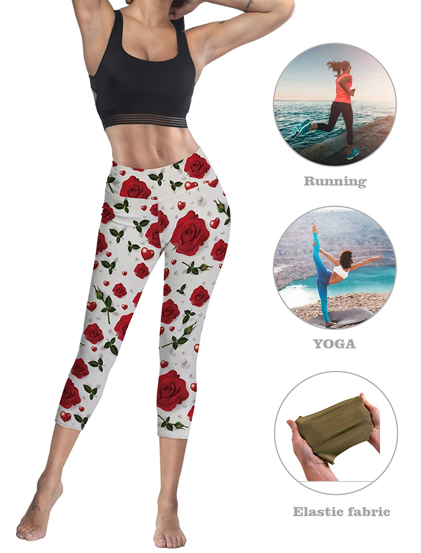 Custom Valentine Roses Yoga Pants Leggings for Women Stretchy Skinny Pants Cropped Trousers Leggings for Running Sports