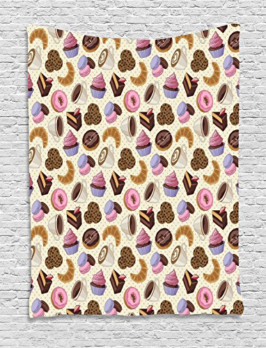 Kitchen Decor Tapestry by Ambesonne, Coffee Shop Themed Image with Cups Cookies Cake Chocolate Artwork Pattern, Wall Hanging for Bedroom Living Room Dorm, 60 W x 80 L Inches, (80 Themed Cake)