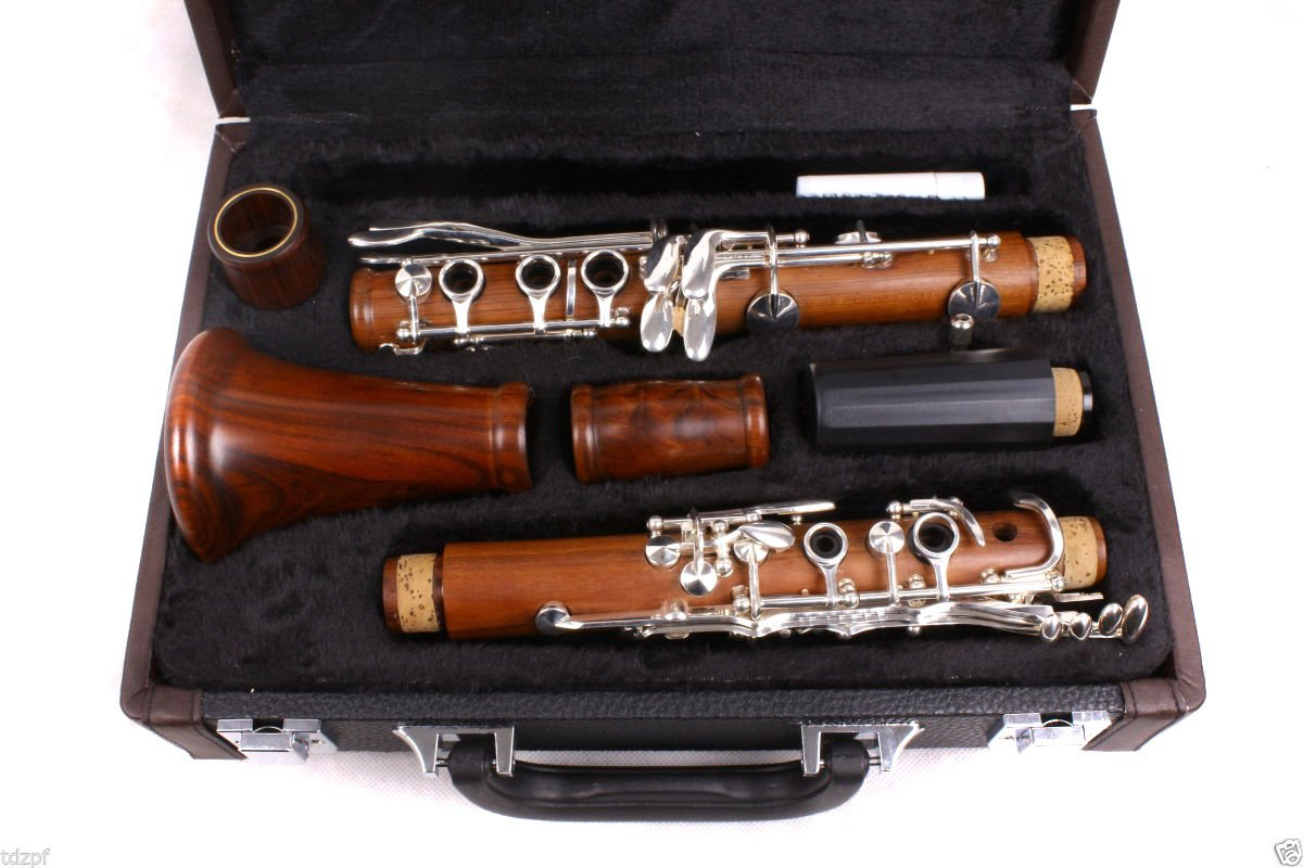 Yinfente Intermediate B-Flat Clarinet Rosewood wood Body Silver Plate Bb Key 17 key Case + Reeds + Pads by yinfente