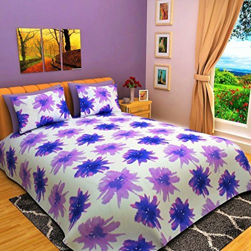 Bombay Dyeing Eternia 220 TC Cotton King Size Bedsheet With 2 Pillow Covers-Purple by Bombay Dyeing