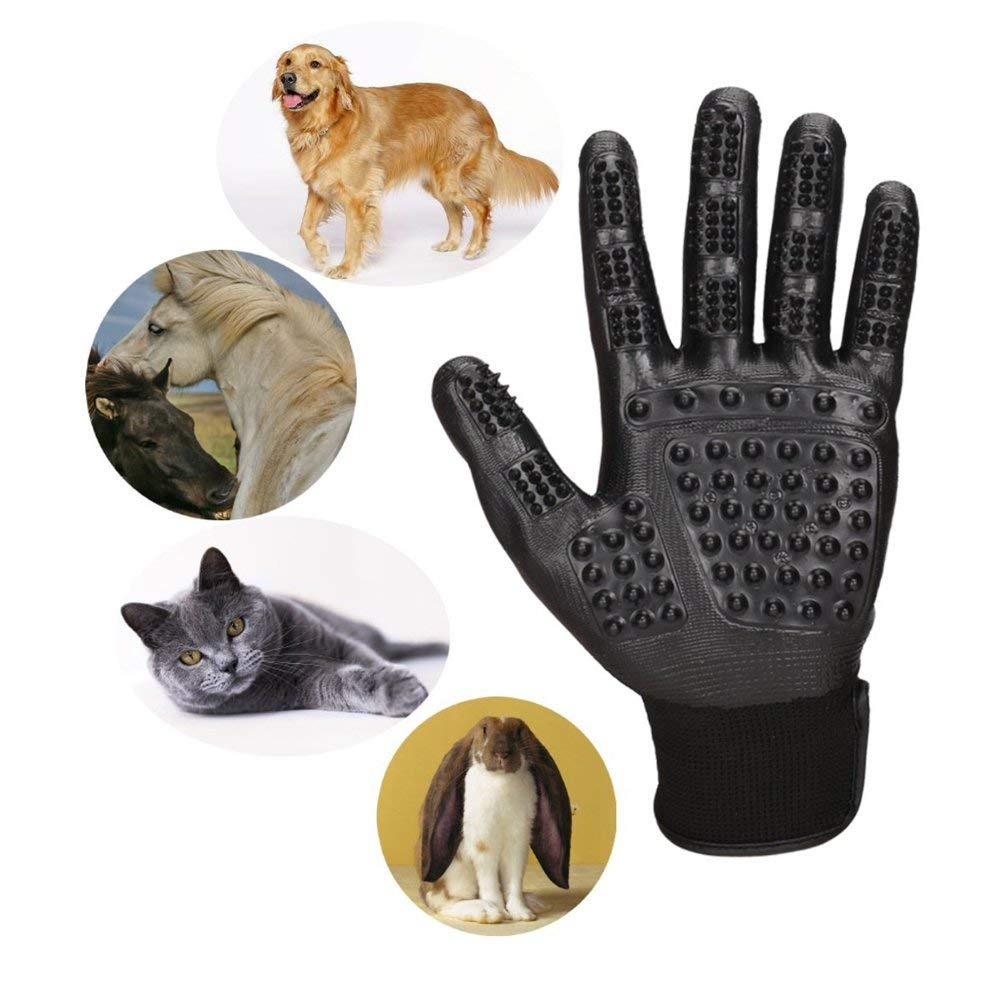 Oudan Pet Grooming Gloves Massage Tool for Dog Cat Bath and Massage Depilation Tool for Long Furs and Short Furs, Black (Color : -, Size : -)
