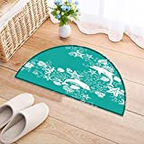 NALAHOMEQQ Bedroom Living Room Bedside Seamless Floral Pattern Bedside Area Rug Round(31.5×19.7 INCH) Review