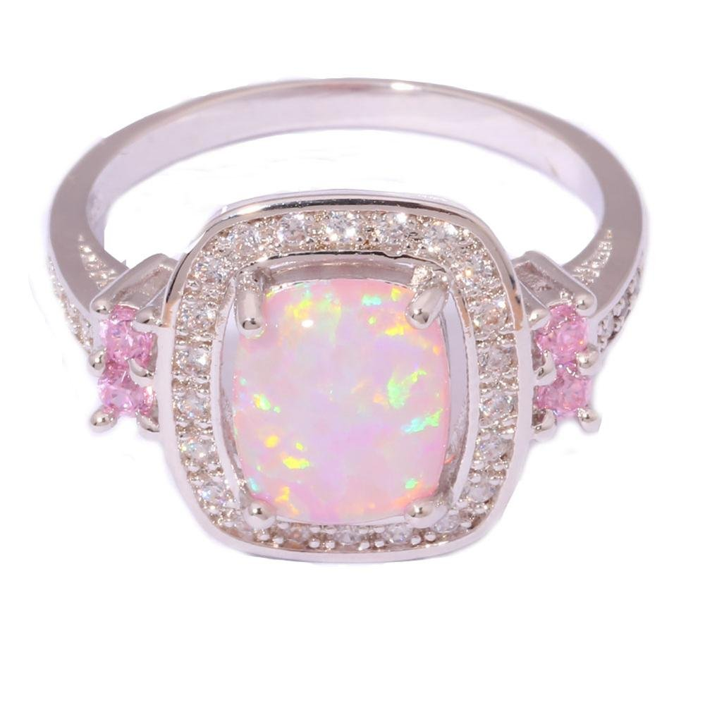 Gemmart Created Opal Pink Zircon engagement rings fashion jewelry rings for women