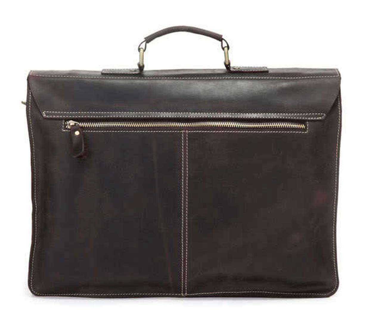 MATCHANT Retro Leather Mens Computer Bag 15 Leather Mens Shoulder Bag Simple Atmosphere Thick Leather Briefcase Color : Dark Brown