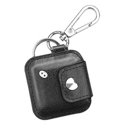 Fintie Case for Tile Mate/Tile Pro/Tile Sport/Tile Style/Cube Pro Key Finder, Vegan Leather Protective Cover for 2020 2020 and All Generations Tile, Black