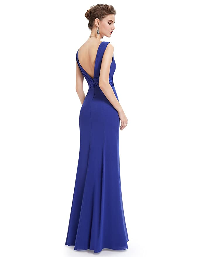 Ever Pretty Womens Sexy V-Neck Long Evening Dresses 20UK Sapphire Blue: Amazon.co.uk: Clothing