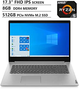 "Lenovo IdeaPad 3 17.3"" HD+ Screen AMD Ryzen 5 5400U Processor 4.0GHz 8GB DDR4 RAM 512GB PCIe SSD WiFi Bluetooth HDMI Bluetooth Windows 10 Fingerprint Reader Platinum Grey Laptop"