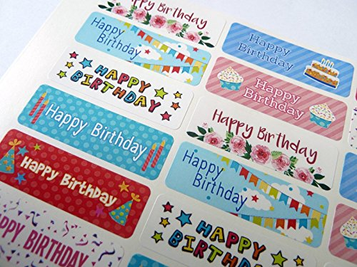 (Pack of 32 Colorful Happy Birthday Greeting Stickers, Labels for Cards, Envelopes & Gifts)
