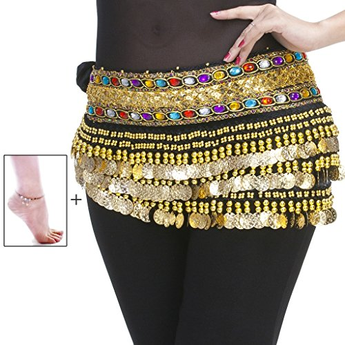 Mutreso Belly Dance Hip Scarf with 248 Gold Coins 150cm Colorful Gem Belt Profession Velvet Performance Skirt Hip Wrap Black