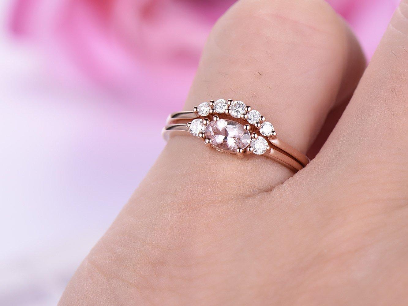 Amazon.com: Oval Morganite Engagement Ring Sets Pave Diamond Wedding ...
