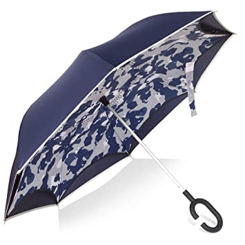 U Dream Navy Blue and Camo Double Layer Upside Down Umbrella Windproof,Reversible Manually Inverted Umbrella C-Handle, with Reflection Strip.
