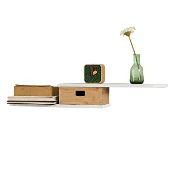 Sobuy Frg273 Wn Design étagère Murale Avec Tiroir En Bois Et Bambou
