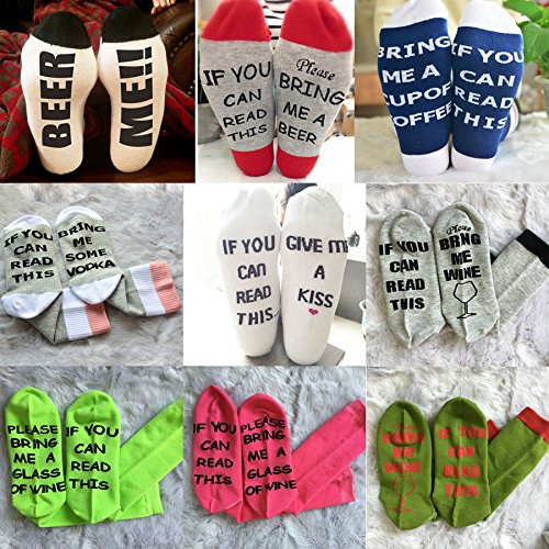 Zooarts 1 Pair Men Womens Funny Socks Unisex Novelty Saying Knitted Words Dress Socks - If You Can Read This