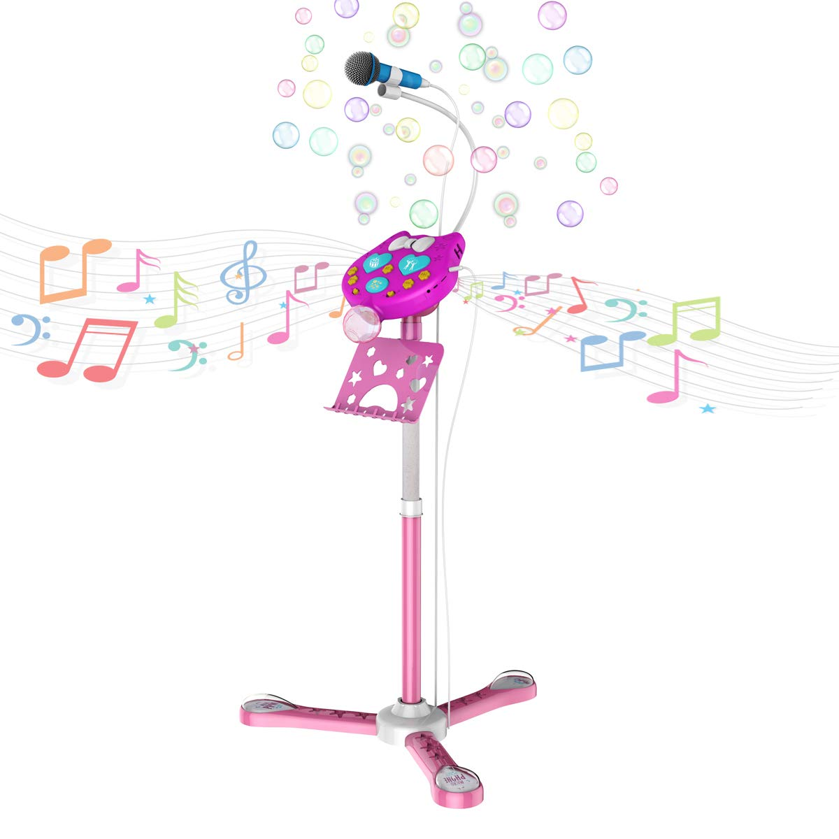TiMi Tree Kids Karaoke Machine with Stand, Bubble Blowing Built-in, Toys for Girls Age 3 - 7, Creative Birthday Gift Idea for 4 Years Old Girls (2 Microphones Supported, 1 Included)