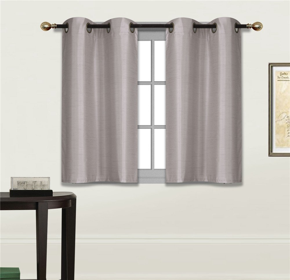 """Elegant Home 2 Panels Tiers Grommets Small Window Treatment Curtain Faux Silk Semi Sheer Drape Short Panel 30""""W X 36""""L Each for Kitchen Bathroom or ANY Small Window # N25 (Silver / Light Grey)"""