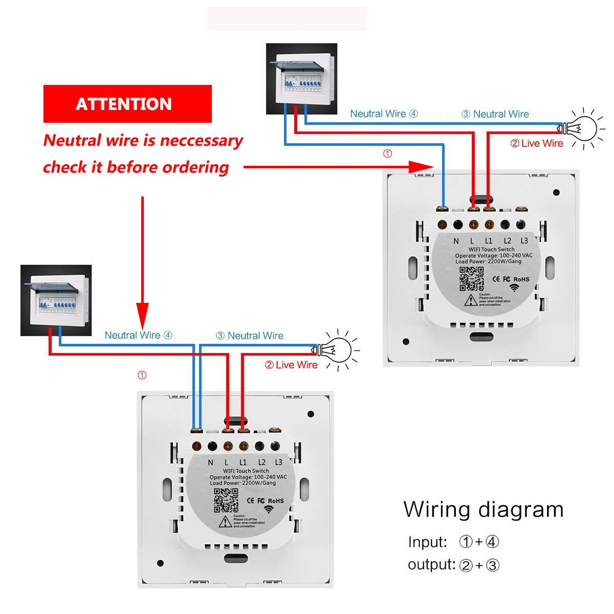 WIFI Smart Touch Switch Compatible with Alexa and Google Home ...