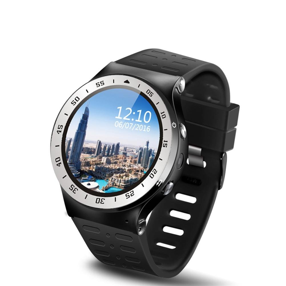 L@YC New Round Screen High-Definition 3G Quad-Core Android5.1 Heart Rate Monitoring Camera Bluetooth Smart Watch , silver