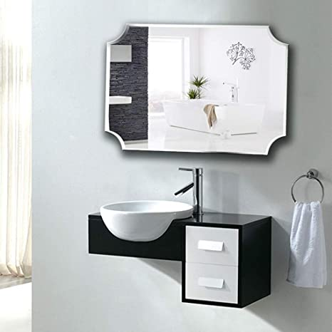 Amazon Com Wall Mounted Mirrors Bathroom Vanity Bedroom Dressing Table Cloakroom Vanity Mirror Frameless Color Silver Size 5070cm Home Kitchen