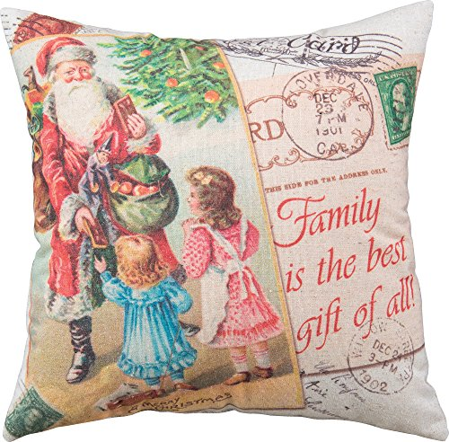 Primitives by Kathy Holiday Christmas Santa Pillow, A Merry Christmas, Santa and Children Postcard Toys Tree Color Pillow, 16
