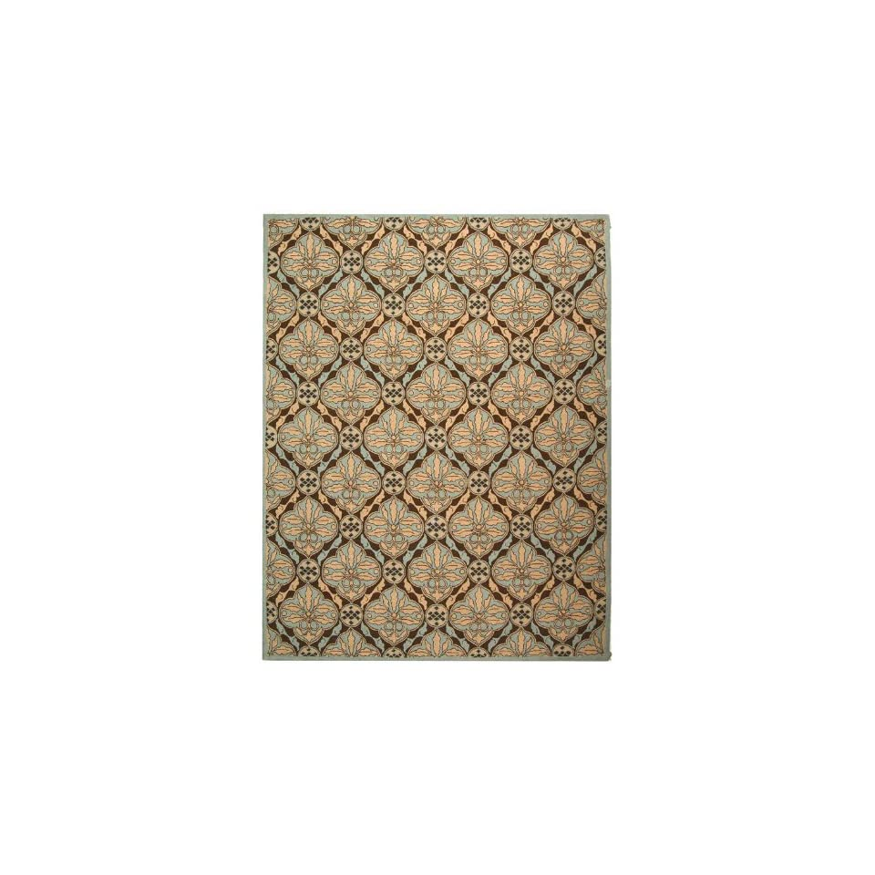 by 9 Feet Hand Hooked Wool Area Rug, Brown and Blue