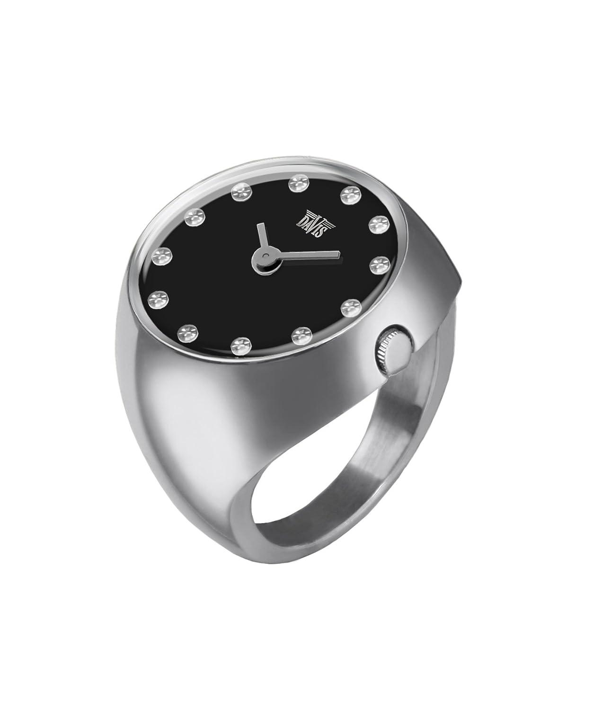 Davis - Ring Watch 2010L – Ringuhr Damen Saphirglas GewÖlbt - Ziffernblatt Schwarz mit Swarovski Strass- GrÖße 58